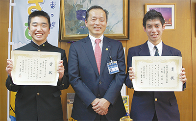 「税標語」受賞者が区長訪問