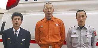 福島県内で活動した瀬谷消防署救急隊の隊員左から関谷副署長、寺田さん、澤井さん