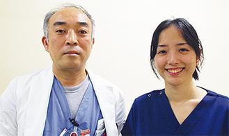 現地入りした桝井センター長(左)と五味渕智香さん
