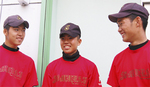 ◀活躍が期待されるエースの柴山一馬君(左)、百合野君(中央)、藤澤君
