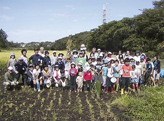 幼児から高齢者まで老若男女が夢中で稲を刈った