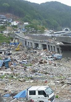 職員が視察した釜石市の被害の様子