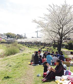 春の晴れた日には多くの人でにぎわう