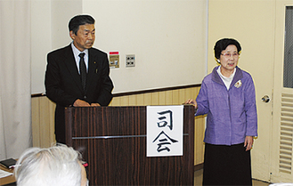 東会長(右)と次期会長の小川氏