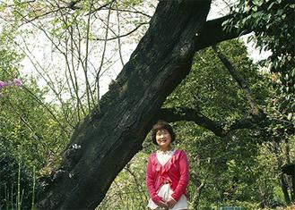 桜の木の下で当時を振り返る内田さん