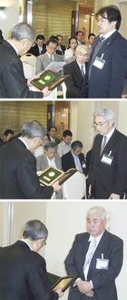 川口会長(写真左)から表彰された(上から)アイシマ・奥田貴生さん、溝口瀬谷レミコン・森田昭雄さん、関東興業・長谷部幸博さん