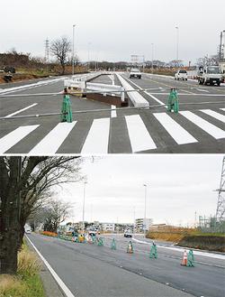 「目黒交番前」交差点側(上)と海軍道路側(下)=3月25日撮影