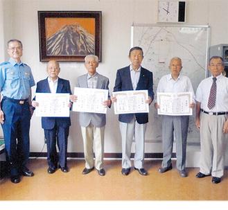 (左から)飯島署長、仙田さん、籾山さん、小川さん、芝本さん、渋川会長