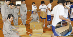 段ボールベッドの組立訓練(南瀬谷中)