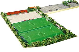 完成イメージ図(TAKA合同会社提供)。ビーチサッカーコートのほか、通常のコートも2面設けられる