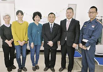 説明会に集まった関係者ら。左から、さかいの会・安蔵富江さん、豊嶋会長、赤塚さん、石川代表、益田代表、瀬谷消防署の鈴木秀岳さん