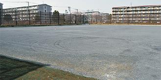 少年サッカーの試合を開ける多目的広場※29日撮影