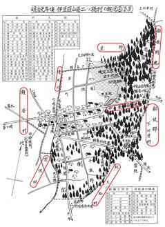 図は、『瀬谷区の歴史(宗教編)』p21より。明治元年頃の伊豆韮山県二ツ橋村の概況図。民家41戸、村役場、駐在所、二ツ橋学舎、西田屋旅館など詳細に亘るが、出典が明記されていないのが残念。
