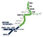 11月30日に開業予定の「相鉄・JR直通線」(緑色)の路線図(相鉄より提供)