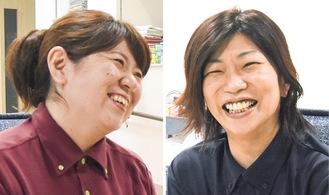 同社取締役の青木さん(右)と「デイサービスセンター陽と花いずみ」の武田さん