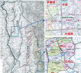 【左図】月刊地図中心(2017年5月号)P15より【右図上下】瀬谷区歴史地名ガイドマップ(2009年)
