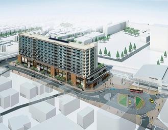 瀬谷駅南口の再開発後のイメージ。施設や駅前広場が整備される※組合より画像提供