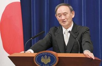 首相として初の会見に臨む菅氏(9月16日)出典:首相官邸ホームページ(https://www.kantei.go.jp/jp/content/20200916suga_04.jpg)