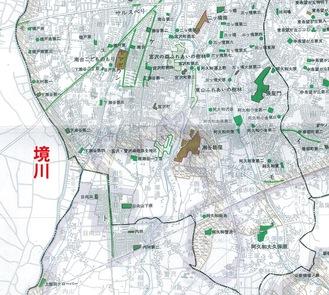 図:「横浜市公園緑地配置図」(92年2月・修正の一部)
