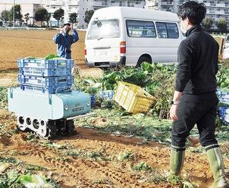 収穫した野菜を運搬するアグビー