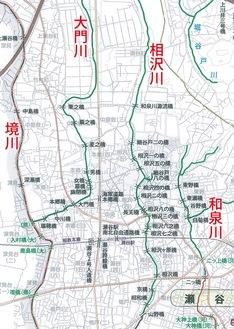 図:横浜市橋梁位置図(横浜市まちづくり調整局)2013年4月の一部