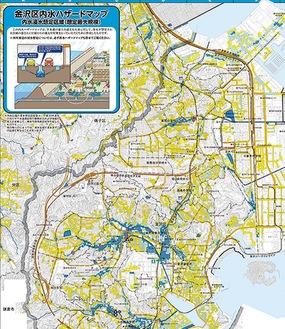 ハザードマップの一例。色付けされている部分が浸水想定区域
