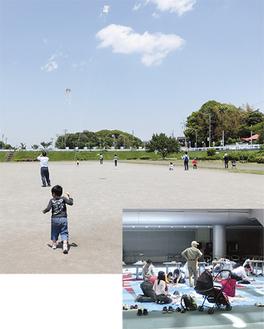 区民ホールで凧づくり(右)をした後、和泉遊水地で凧揚げ