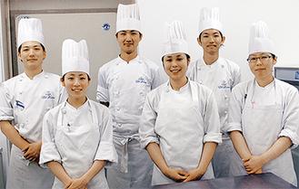 受賞したパティシエたち(前列右から)紅谷さん、諸川さん、岡本さん(後列右から)井出さん、大野さん、照井さん