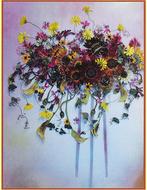 押し花アートを展示