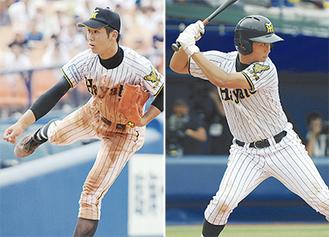 泉中央ボーイズ出身の山口投手(左)と大堀選手=24日、横浜スタジアム