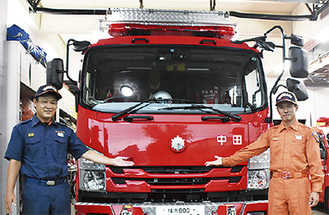 消防車両の展示も