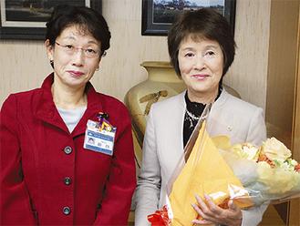 石井マサ子さん(右)と額田樹子区長