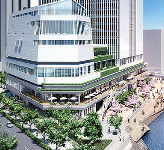 商業施設が入る新市庁舎低層階の完成予想図