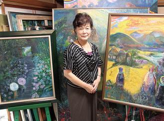 大久保さんと、陰陽のコントラストが印象的な油絵作品