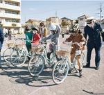 さっそく寄贈された自転車で講習
