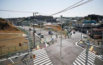 新たに整備された三嶋神社入口交差点