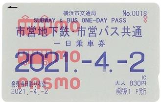1日乗車券を搭載したPASMOの券面イメージ(市交通局提供)