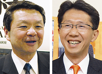 市議選、県議選でトップ当選した鈴木氏(右)と松田氏