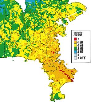三浦半島断層群で地震が起きた場合の推計震度分布図(神奈川県地震被害想定調査報告書より引用)