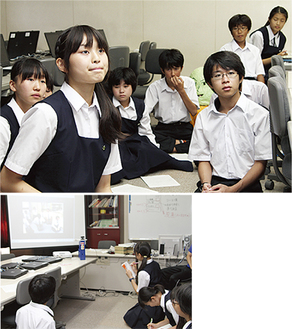 プロジェクター越しに唐桑中生と話し合う戸塚中生
