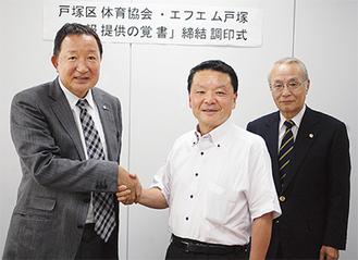 覚書を締結し握手する松田会長(中)と福原代表取締役、右は区体協の高村佐太郎副会長