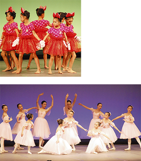 可愛らしい衣装のモダンダンス(上)と優雅な雰囲気漂うバレエ