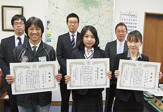 表彰された功労者ら。左から一ノ瀬寿裕さん、篠原和夫さん、渋谷敏夫さん、八田直子さん、青木一雄さん、和知淳子さん