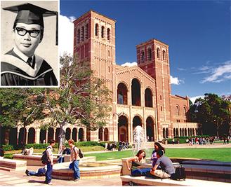 UCLAのキャンパスと鈴木代表取締役