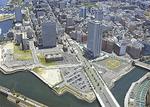 新市庁舎の建設予定地(写真中央少し右下の印部)