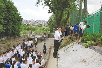 グラウンド沿いに木を植える生徒ら