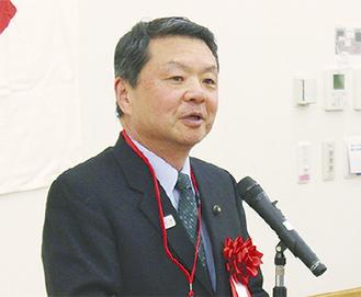 あいさつをする松田会長