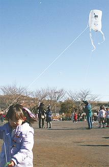 糸をしっかり握り凧をあげる児童