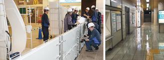 トツカーナに止水板を設置する訓練参加者。台風18号により駅地下に水が流入した(右。戸塚区提供)