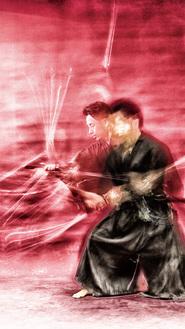 侍が刀を抜いて鞘に収めるまでの一瞬を作品にした「ZAN」